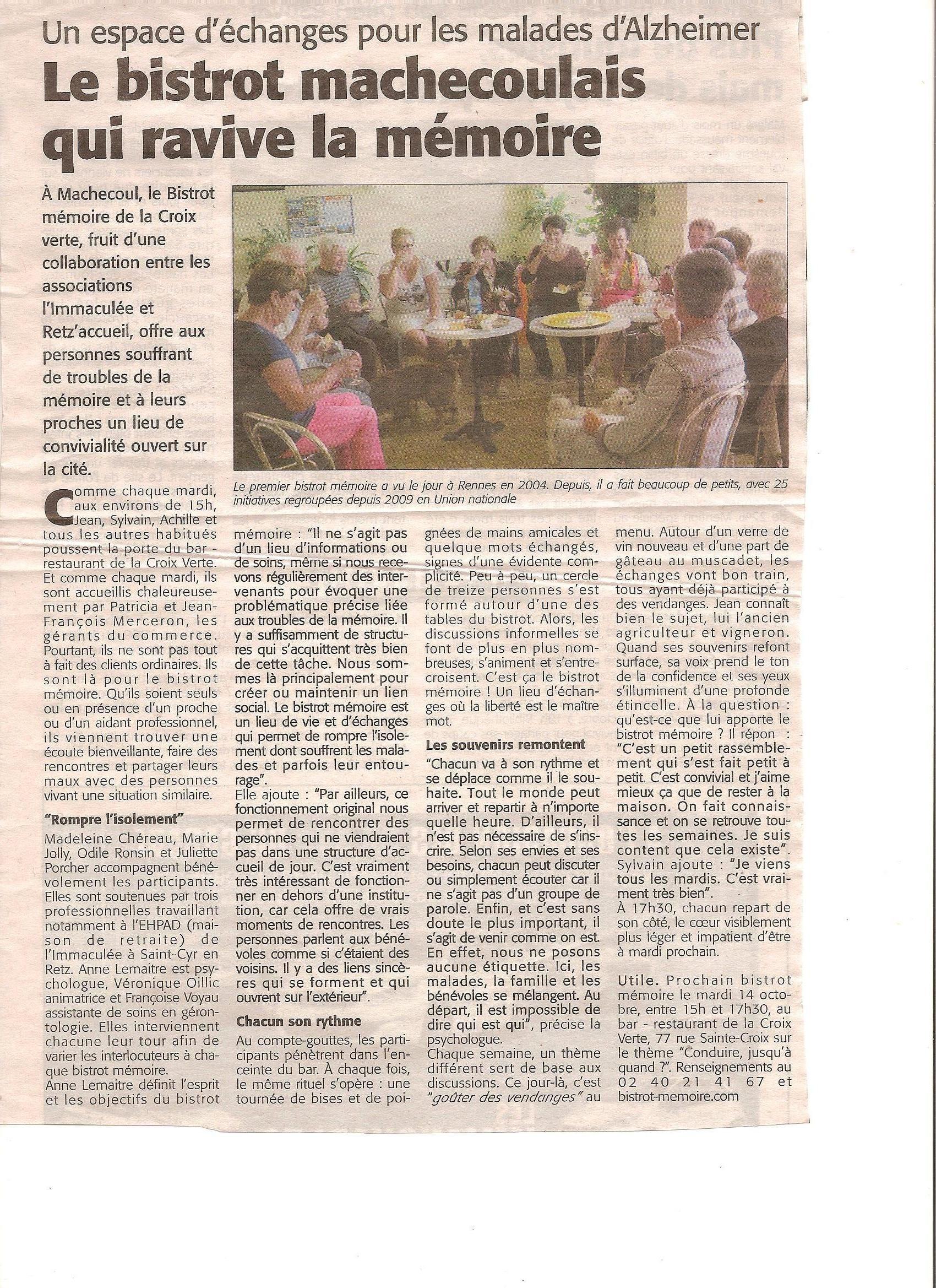 Article du Courrier du Pays de Retz présentant le Bistrot-Mémoire de Machecoul